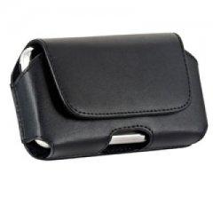 Platinum Horizontal Leather Case w/Attached Belt Clip (Black)