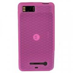 Motorola Rubberized Textured Skin Shell Guard (Dark Pink)
