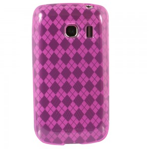 Dark Pink Color TPU Case with Argyle Pattern compatible with Motorola Droid Bionic Targa XT875