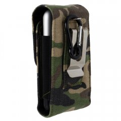 Camouflage Large Vertical Canvas Pouch w/ Stationary Metal Belt Clip & Loop