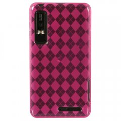 Dark Pink Color TPU Case with Argyle Pattern compatible with Motorola Droid 3