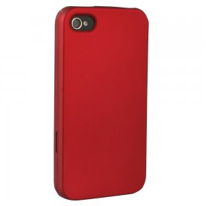 Red Rubberized Protective Shield compatible with Apple iPhone 4/4s