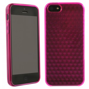 TPU Case compatible with Apple iPhone 5 - Solid Dark Pink with Texture