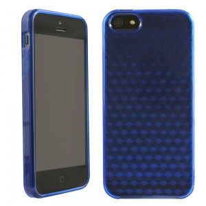 TPU Case compatible with Apple iPhone 5 Verizon - Solid Dark Blue with Texture