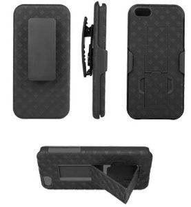Samsung Galaxy S 3 Case Holster Shell Combo Protective Full Cover w/ Kickstand (Black)
