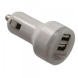 Premium Universal Dual USB-A Vehicle Charger w/ 2.1A/1A ports (White)