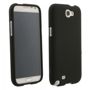 Black Rubberized Protective Shield compatible with Samsung Galaxy Note 2