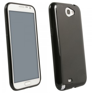 Black Solid Color TPU Case compatible with Samsung Galaxy Note 2