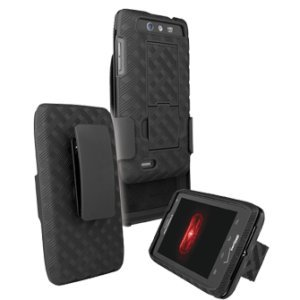 Holster & Protective Cover Combo w/Patterned Rubberized Texture compatible with Droid-4
