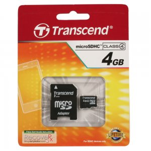 4GB microSDHC High Capacity Memory Card with Standard SD Adapter