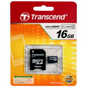 16GB MicroSDHC Memory Card with SD Adapters