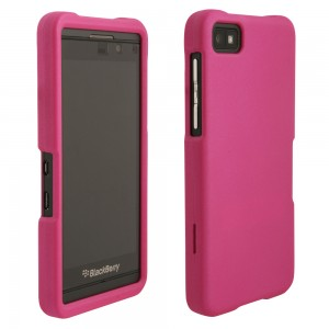 Pink Rubberized Protective Shield compatible with Blackberry Z10