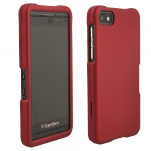 Red Rubberized Protective Shield compatible with Blackberry Z10