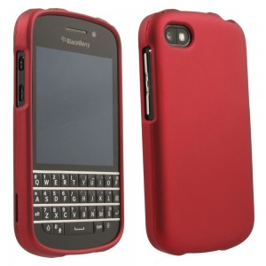 Red Rubberized Protective Shield compatible with Blackberry Q10