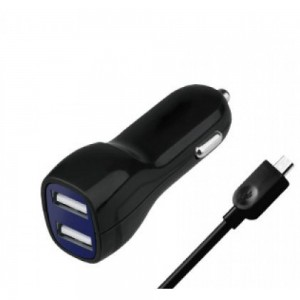 Premium Universal Overtime 2.1 Amp Dual USB Car Charger (4-Foot) Micro USB Cable - Black