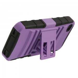 Two Piece Hybrid Case with built-in Kickstand for Apple iPhone 4/4S - Black & Rav'ns Purple