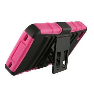 Two Piece Hybrid Case with built-in Kickstand for Apple iPhone 4/4S - Black & Pink