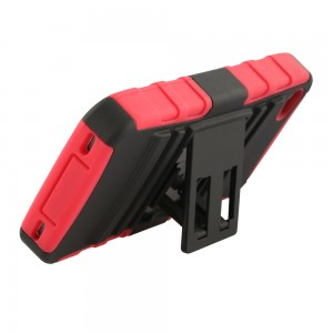 Two Piece Hybrid Case with built-in Kickstand for Apple iPhone 4/4S - Black & Red
