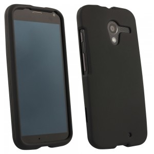 Black Rubberized Protective Shield compatible with Motorola X XT1056