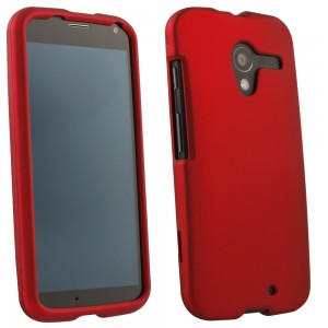 Red Rubberized Protective Shield compatible with Motorola X XT1056