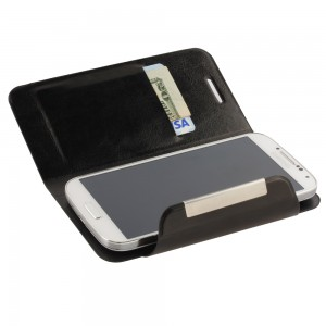 Universal Flip Cover Phone Wallet w/Suction Cup Attachment - Black