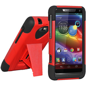 Amzer Double Layer Hybrid Case with Kickstand - Black/ Red