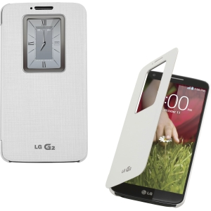 LG Mobile - QuickWindow Convenient Folio Case for LG G2, White
