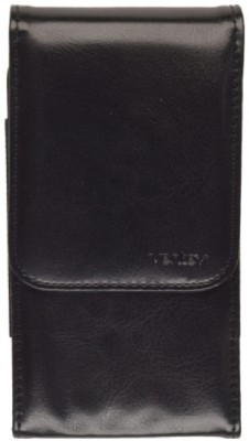 Ventev - X-Large Universal Leather Pouch w/Belt Clip, Vertical (Black)