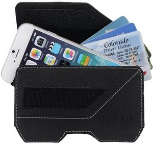 Nit-Ize Rugged Clip Case Executive Holster Pouch For Extra Large Devices w/Fixed Belt Clip, Black