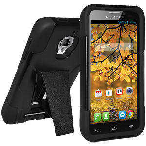 Amzer Double Layer Hybrid Case with Kickstand - Black/ Black