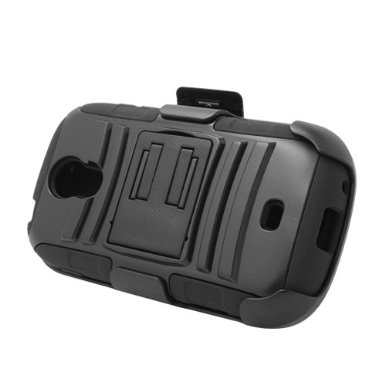 Black Rugged Hybrid Hard Case Cover & Belt Clip Holster for Samsung Galaxy Light t399