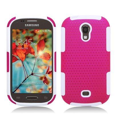 Progressive Hybrid Gummy Mesh Defense Case for Samsung Galaxy Light t399 White/Hot Pink