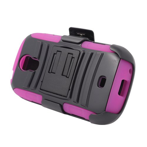 PINK Rugged Hybrid Hard Case Cover & Belt Clip Holster for Samsung Galaxy Light t399