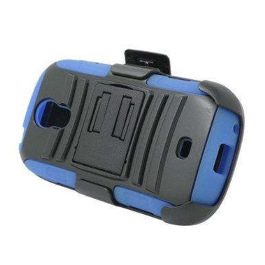 Blue Rugged Hybrid Hard Case Cover & Belt Clip Holster for Samsung Galaxy Light t399