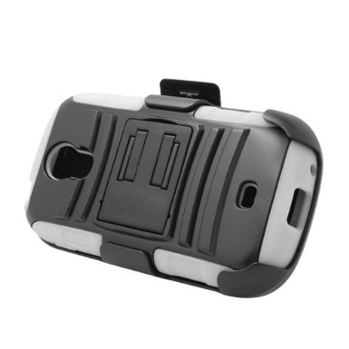White Rugged Hybrid Hard Case Cover & Belt Clip Holster for Samsung Galaxy Light t399