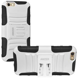 Premium Hybrid Kickstand Case (iPhone 6/6S) - Black/ White