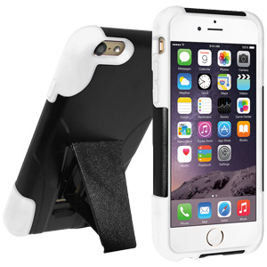 Premium Double Layer Hybrid Case with Kickstand (iPhone 6/6S) - Black/ White