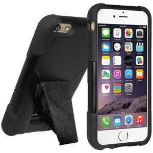 Premium Double Layer Hybrid Case with Kickstand (iPhone 6/6S) - Black/ Black
