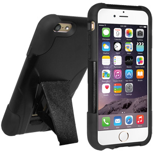 Double Layer Hybrid Case with Kickstand - Black/ Black