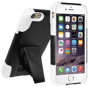 Double Layer Hybrid Case with Kickstand - Black/ White
