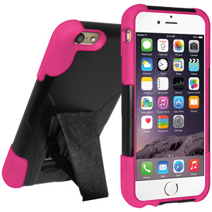 Double Layer Hybrid Case with Kickstand - Black/ Hot Pink