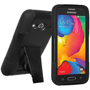 Double Layer Hybrid Case with Kickstand No Clip - Black/ Black