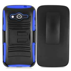 Extreme Rugged Dual Layer Kickstand Combo Case w/ Belt clip Holster Samsung Galaxy Avant Case G386T Blue/Black