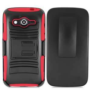 Extreme Rugged Dual Layer Kickstand Combo Case w/ Belt clip Holster Samsung Galaxy Avant Case G386T Red/Black