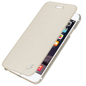 Premium Flip Cover w/ Credit Card Holder For iPhone 6Plus White