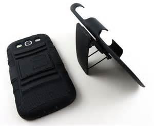 Rugged Hybrid Hard Case Cover & Belt Clip Holster for Kyocera Hydro Life, Black