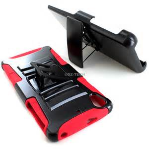 Rugged Hybrid Hard Case Cover & Belt Clip Holster for Kyocera Hydro Life, Red