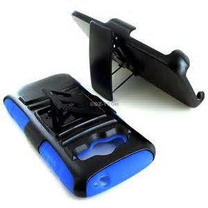 Rugged Hybrid Hard Case Cover & Belt Clip Holster for Kyocera Hydro Life, Blue