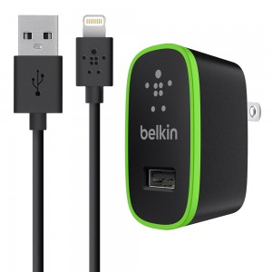 Belkin 8-Pin Lightning 2.1 Amp SINGLE Port Travel/Wall Charger w/Detachable Cord
