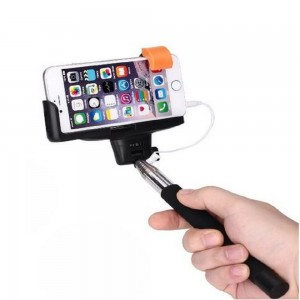 Extendable Wired Selfie Monopod Stick w/ Built-in Shutter